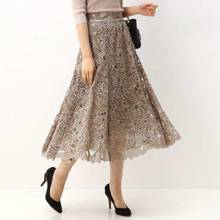 Rirandture - モカ リランドチュール シアーカットワーク刺繍スカート