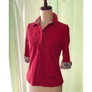 バーバリー(BURBERRY)のBURBERRY バーバリー レディース 七分袖ポロシャツ Sサイズ(ポロシャツ)