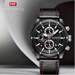 mini focus ストップウオッチ クロノグラフ レザー 防水 日付(腕時計(デジタル))