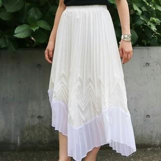 アウラアイラ(AULA AILA)のAULA AILA新品プリーツスカートロングスカートホワイト白レディース送料無料(ロングスカート)