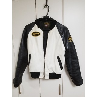 バンソン(VANSON)のvanson ライダースジャケット 36 白×黒(ライダースジャケット)