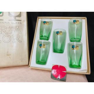 未使用 レアADERIA COLOR GLASS グリーン ガラスのコップ 5こ(グラス/カップ)