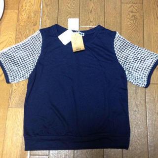 ジエンポリアム(THE EMPORIUM)の新品☆袖ブロックオーガンジーTシャツ紺(Tシャツ(半袖/袖なし))