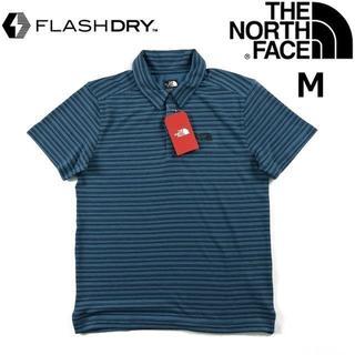 ザノースフェイス(THE NORTH FACE)のノースフェイス 半袖 ポロシャツ 速乾 スポーツ(M)青 180902(ポロシャツ)