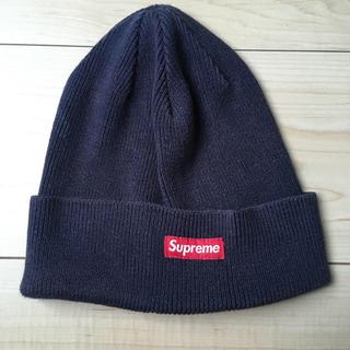Supreme - supreme ニット帽 紺色 赤タグ