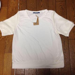 ジエンポリアム(THE EMPORIUM)の新品☆袖ブロックオーガンジーTシャツ白(Tシャツ(半袖/袖なし))