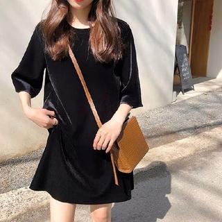 ディーホリック(dholic)の韓国ファッション ロングカットソー ミニワンピース ミニマルアイテム(ひざ丈ワンピース)