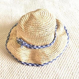 アニエスベー(agnes b.)のレディースSアニエスベーagnes b.麦わら帽子(キッズにも)紺色×白チェック(帽子)
