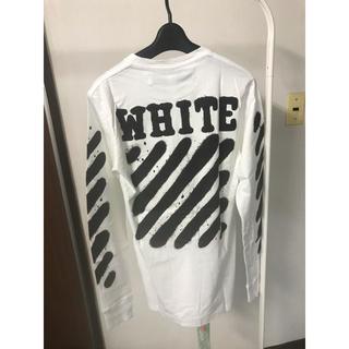 オフホワイト(OFF-WHITE)のOFF-WHITE ストライプロゴオーバーサイズカットソー  新品(Tシャツ/カットソー(七分/長袖))