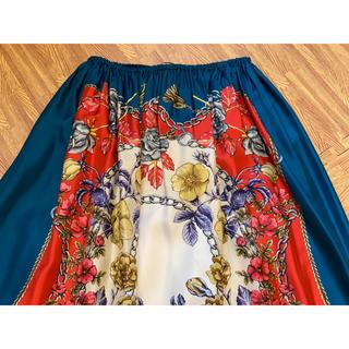 グッチ(Gucci)の♡期間限定お値下げ●GUCCIグッチブドワールプリント青ギャザースカート新品(ロングスカート)