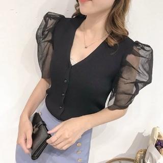 dholic - 韓国ファッション シースルー半袖シャツニット Vネックシャツ ブラック