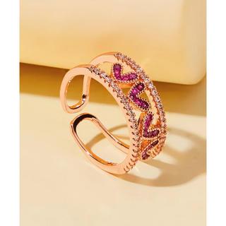 ザラ(ZARA)の美品 海外 SHEIN 日本未入荷 ラインストーン ハート 指輪(リング(指輪))