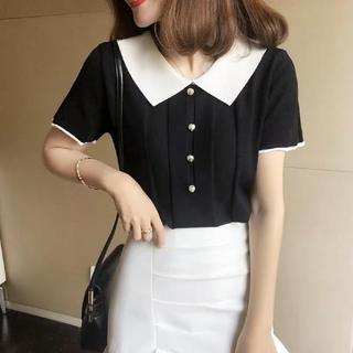 dholic - 韓国ファッション 半袖ニットカットソー 切替ニット ショート丈 ホワイト