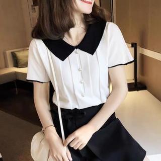 ディーホリック(dholic)の韓国ファッション 半袖ニットカットソー 切替ニット ショート丈 ホワイト(ニット/セーター)
