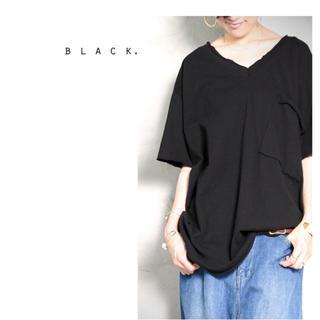 アンティカ(antiqua)のアンティカ 切りっぱなしの風合いがお洒落なんですカットソー ブラック(Tシャツ(半袖/袖なし))