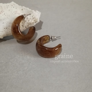 Adam et Rope' - 【 NEW 】marble hoop pierce / brown