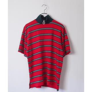 韓国ブランド ハイネックzip付きニットソー半袖tシャツ ボーダー レッド(Tシャツ/カットソー(半袖/袖なし))