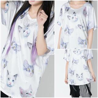 エーシーディーシーラグ(ACDC RAG)の宇宙猫 ギャラクシー CAT 総柄 半袖Tシャツ 白 ACDC RAG(Tシャツ(半袖/袖なし))