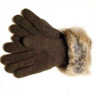 クレイサス(CLATHAS)の新品 ウール、アンゴラ、ナイロン ニット ファー手袋(手袋)