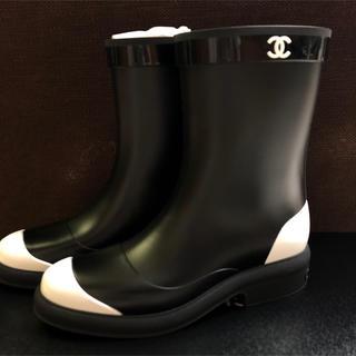 シャネル(CHANEL)のCHANEL シャネル バイカラー レインブーツ ブーツ レインシューズ(レインブーツ/長靴)