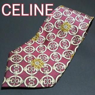 セリーヌ(celine)の【美品】 CELINE 総柄 ネクタイ ワインレッド(ネクタイ)