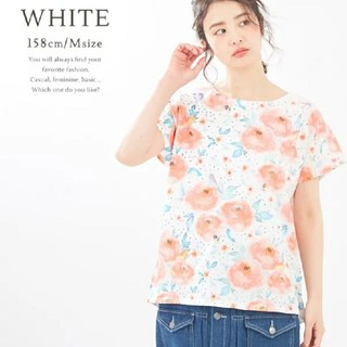 キューブシュガー(CUBE SUGAR)のキューブシュガー花柄プリントTシャツ(Tシャツ(半袖/袖なし))