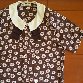 古着屋 ビンテージ レトロ リボン 襟付き 花柄 ブラウス(シャツ/ブラウス(半袖/袖なし))