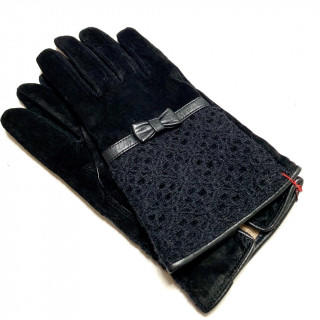 クレイサス(CLATHAS)の新品 本革 ブラック 豚革 リボン 黒 防寒 訳アリ(手袋)