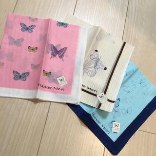 ハナエモリ(HANAE MORI)の×3 バタフライ柄ハンカチ♡(ハンカチ)