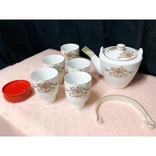 ソネチャイナ 花柄 皿 ティーポット 湯呑み 急須セット(食器)