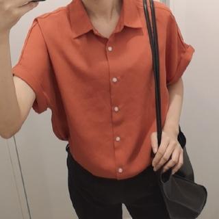 ジーユー(GU)のGUオープンカラーシャツ(オレンジ)(シャツ)