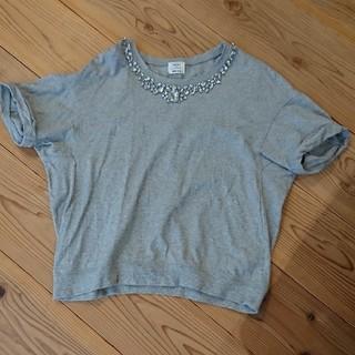 プラステ(PLST)の美品 PLST ビジュー付きシャツ(Tシャツ(半袖/袖なし))