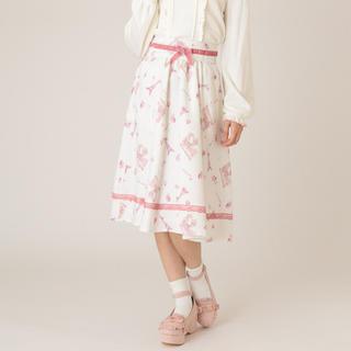 リズリサ(LIZ LISA)のリズリサ*エッフェル塔柄スカート ホワイト(ひざ丈スカート)