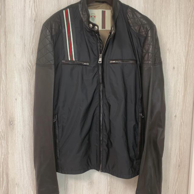 Gucci(グッチ)のグッチ GUCCI ラムレザー シェリーライン シングル ライダース メンズのジャケット/アウター(レザージャケット)の商品写真