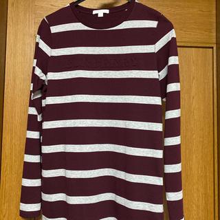 バーバリー(BURBERRY)のTシャツ カットソー ボーダー エンボス ロゴ ボルドー グレー 14Y 大人可(Tシャツ/カットソー)