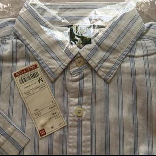 ユニクロ(UNIQLO)の新品タグ付き未開封★ユニクロ メンズ ドビーストライプシャツ 半袖 ブルー(シャツ)