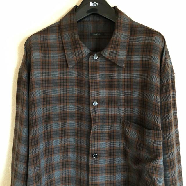 COMOLI(コモリ)のCOMOLI 19ss チェック レーヨンオープンカラーシャツ メンズのトップス(シャツ)の商品写真