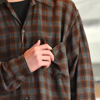 コモリ(COMOLI)のCOMOLI 19ss チェック レーヨンオープンカラーシャツ(シャツ)