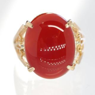 質屋出品vm 天然血赤珊瑚リング K18YG 11.5号(リング(指輪))