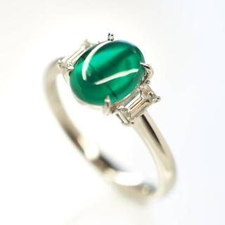 質屋出品ivi 天然エメラルドキャッツアイダイヤモンドリング Pt900 16号(リング(指輪))