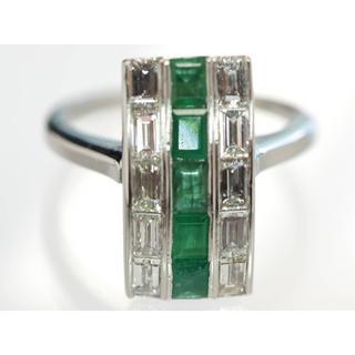 質屋出品kz アンティーク 天然ダイヤモンド エメラルド Pt900 10号(リング(指輪))