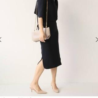 ドゥーズィエムクラス(DEUXIEME CLASSE)の新品タグ付きMUSEトリアセジョーゼットペンシルスカート黒34(ひざ丈スカート)