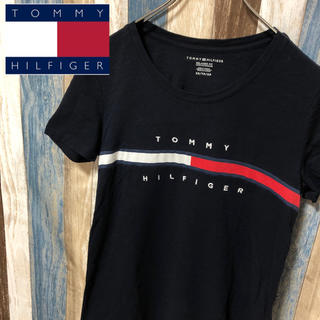 TOMMY HILFIGER - ラクマ限定価格【TOMMY HILFIGER】Tシャツ フロントロゴ 紺色 XS