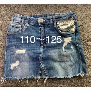 エイチアンドエム(H&M)のh&m スパンコールダメージデニムスカート 7-8y 128(スカート)