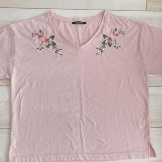ワンウェイ(one*way)のワンウェイ フラワー刺繍 Tシャツ トップス one way ピンク(Tシャツ(半袖/袖なし))