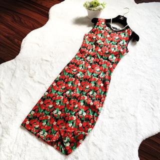DOLCE&GABBANA - 美品 ドルガバ  フルーツ柄 シルク ワンピース ドレス いちご