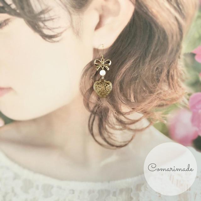 アンティークリボンハート♡ こまりめいど ハンドメイドのアクセサリー(ピアス)の商品写真