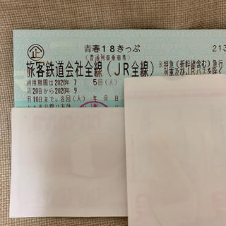 ジェイアール(JR)の青春18きっぷ 残り1回【返却不要】(鉄道乗車券)