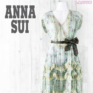 ドーリーガールバイアナスイ(DOLLY GIRL BY ANNA SUI)のANNA SUI 花柄 フリル ノースリーブ ロング ワンピース 2 Vネック(ロングワンピース/マキシワンピース)