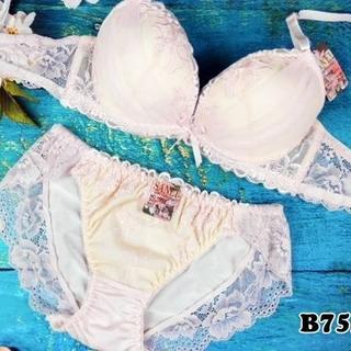 SE31★B75 M★美胸ブラ ショーツ Wパッド フラワーシフォン ピンク(ブラ&ショーツセット)